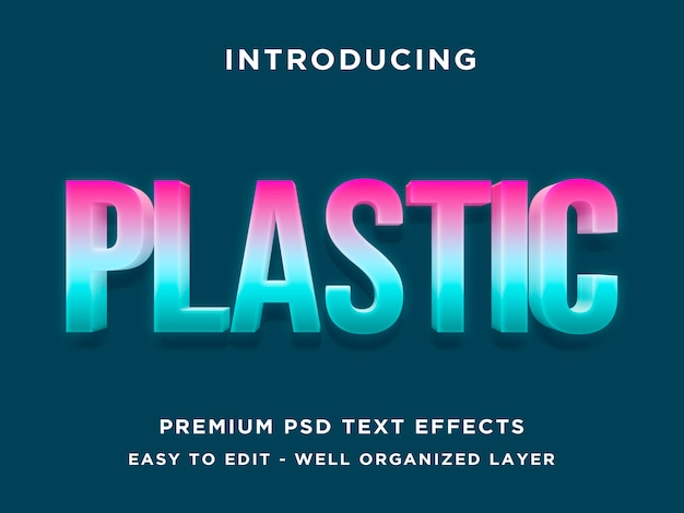 Plastic - modern 3d text effect psd