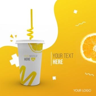 Plastic orange cup mockup