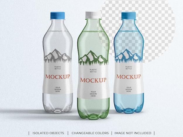Макет пластиковой упаковки бутылки с минеральной водой