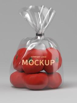 プラスチック包装トマトモックアップ