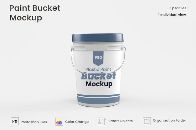 Plastic paint bucket mockup premium psd