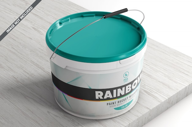 Plastic paint bucket on a wooden surface mockup
