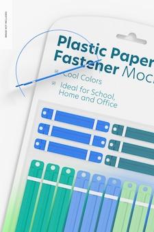 Mockup di blister con chiusura in carta di plastica, primo piano