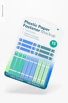 Plastic paper fastener blister mockup, floating