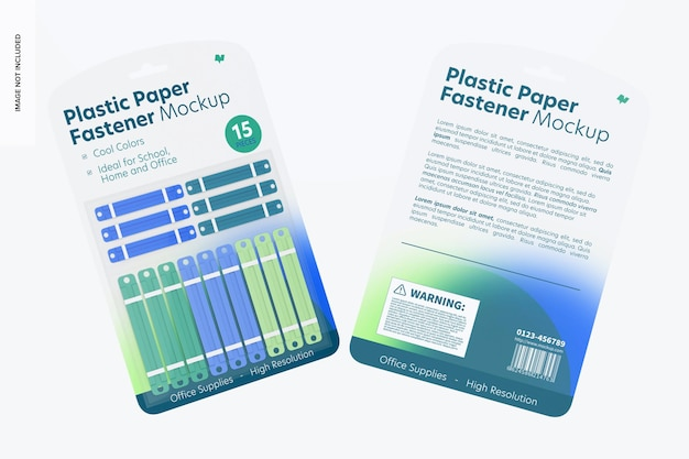 Mockup di blister con chiusura in carta di plastica, fronte e retro