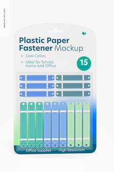 Plastic paper fastener blister mockup, front view