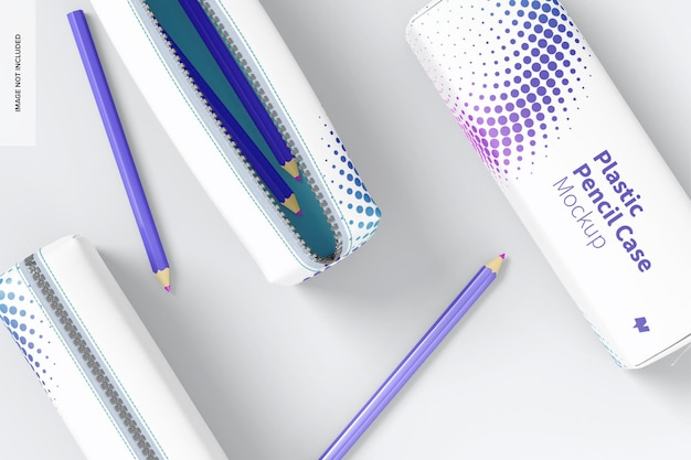 プラスチック製のペンケースのモックアップ、上面図