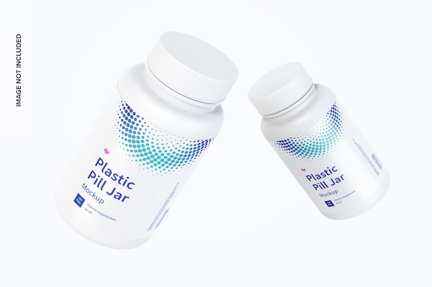 Plastic pill jars mockup floating