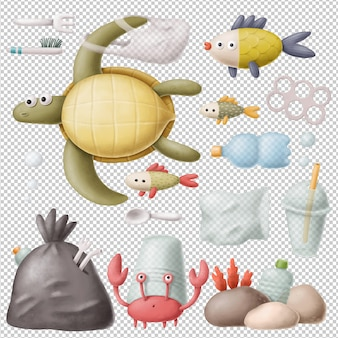 Plastic polluted ocean clipart collection