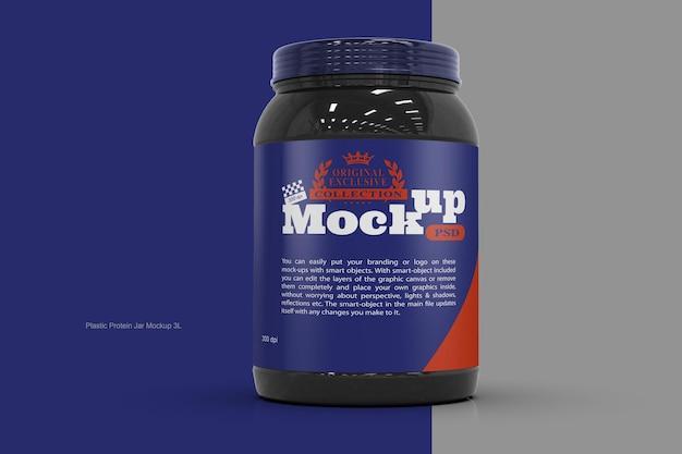 Пластиковая банка для протеина, мокап 3 л