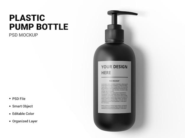 Plastic pump bottle mockup design isolated