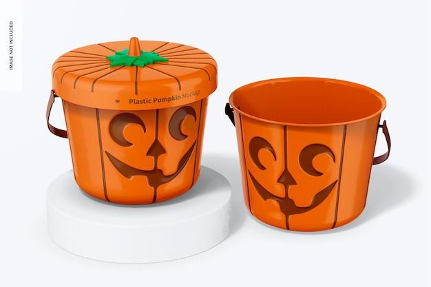 Plastic pumpkins mockup, closed and opened