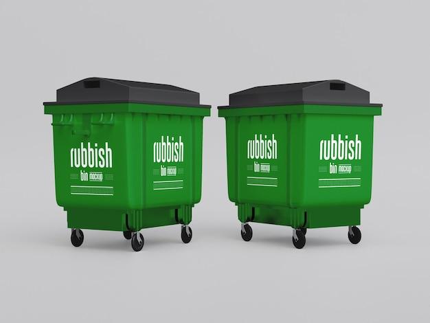 プラスチック製のゴミ箱のモックアップ