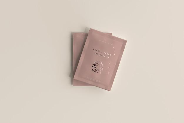 Plastic sachet packet mockup