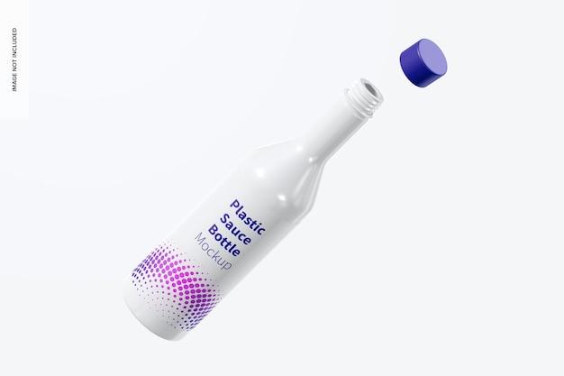 Мокап пластиковой бутылки соуса, плавающий