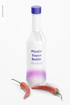 Макет пластиковой бутылки соуса, вид спереди