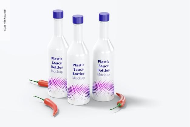 Набор пластиковых бутылок для соуса, макет