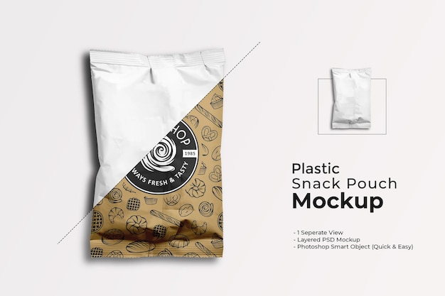 Plastic snack pouch mockup