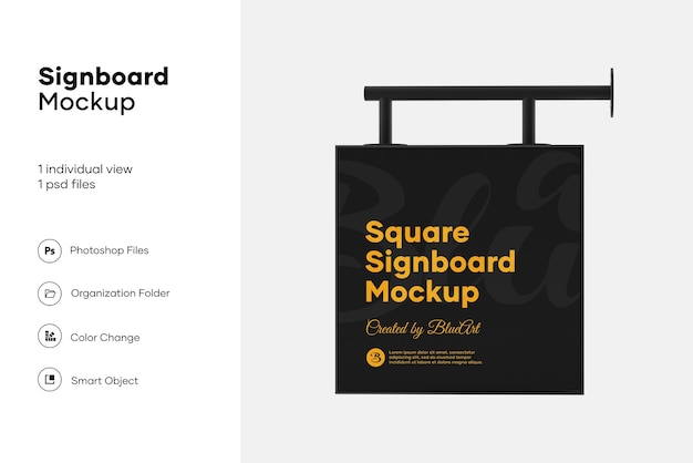 Plastic square signboard mockup design isolated