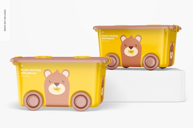 Plastic stacking bins with wheels mockup, up and down