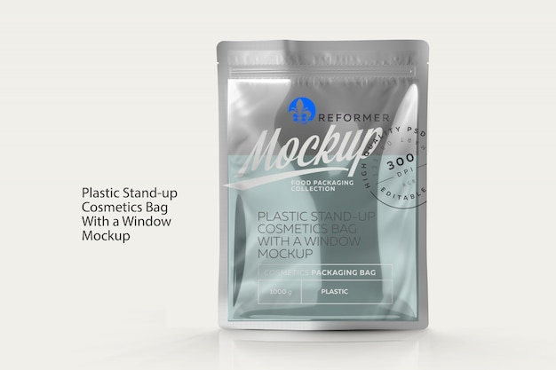 Plastic stand-up cosmetics bag with a window mockup