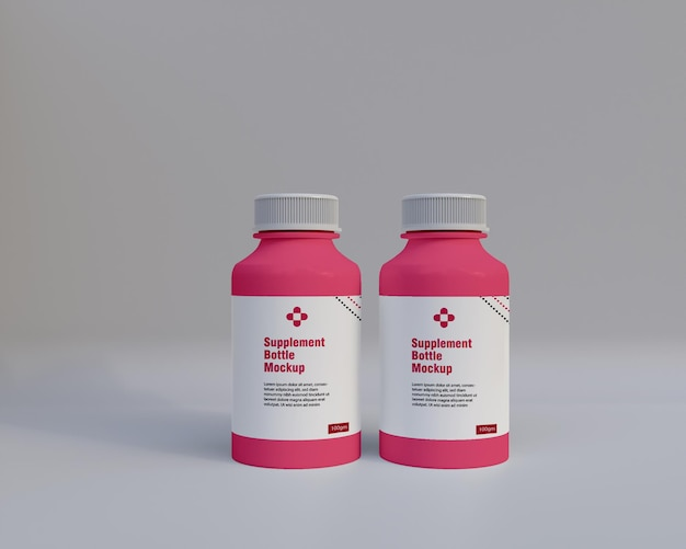プラスチックサプリメント薬瓶モックアップ3d