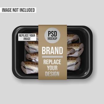 Plastic tray vacuum food mockup design