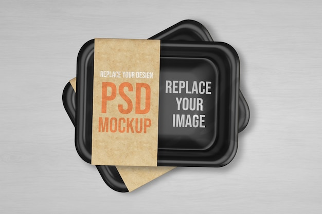 Plastic tray vacuum food mockup