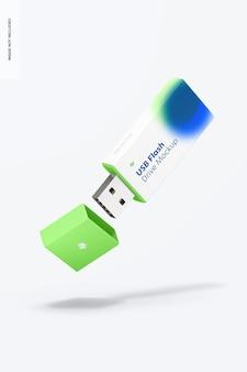 プラスチック製のusbフラッシュドライブのモックアップ、落下 Premium Psd