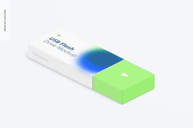 Plastic usb flash drive mockup, isometric left view