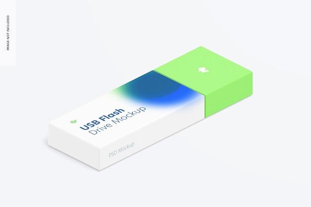 Plastic usb flash drive mockup, isometric right view