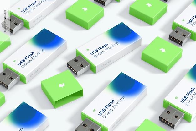 プラスチック製のusbフラッシュドライブセットのモックアップ