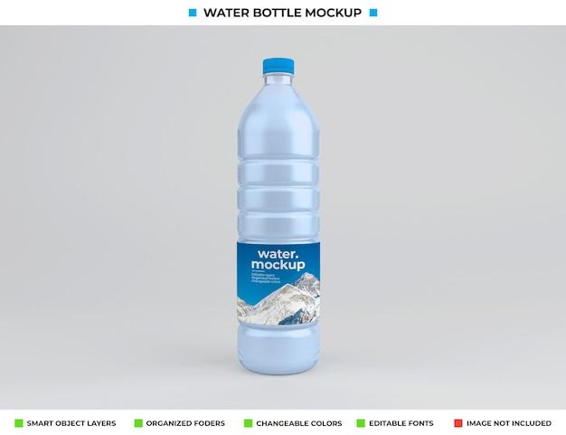 Изолированный макет пластиковой бутылки с водой