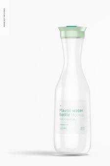 Bottiglia d'acqua in plastica con coperchio incernierato mockup