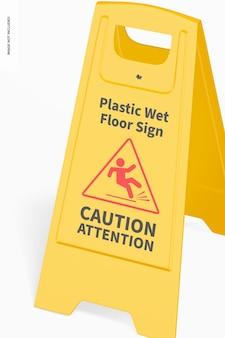 Plastic wet floor sign mockup, close up