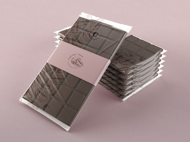 Plastic wrap for chocolate tablets mock-up