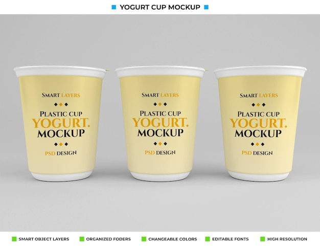 Макет пластиковой чашки йогурта в концепции питания