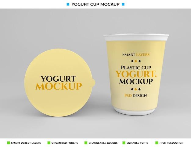 食品コンセプトのプラスチックヨーグルトカップモックアップ