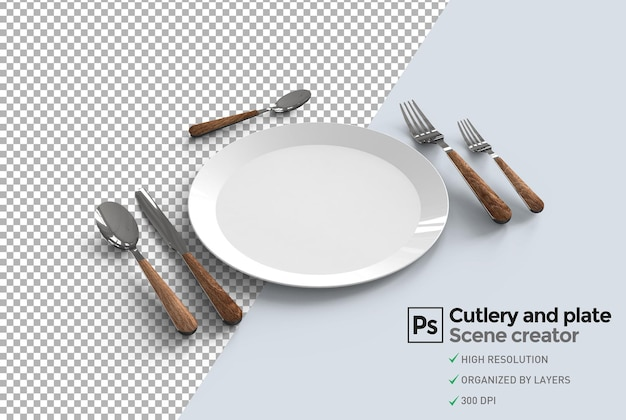 Plate and cutlery top view rendering