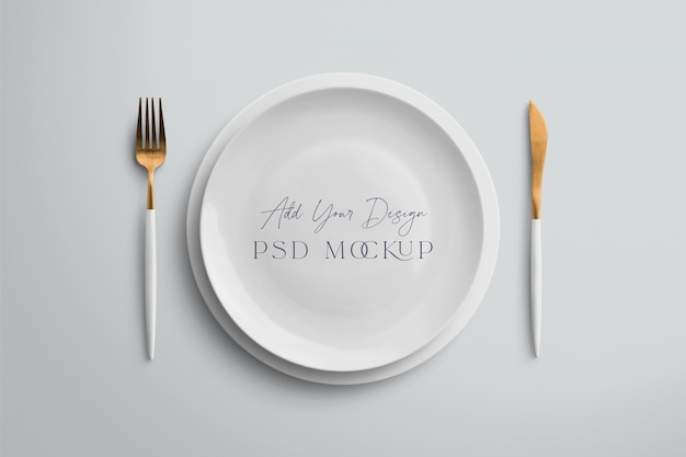 Plate mockup with fork and knife