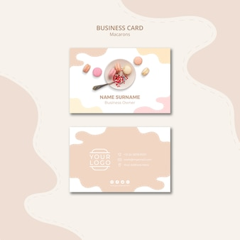 Plate with macarons business card template
