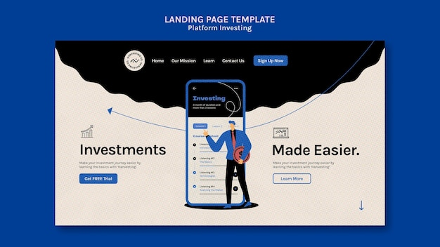 Шаблон целевой страницы для инвестирования в платформу Бесплатные Psd