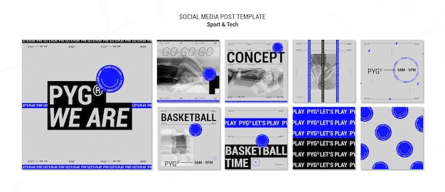 Play basketball concept social media post