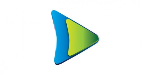 Play button logo in green and blue color