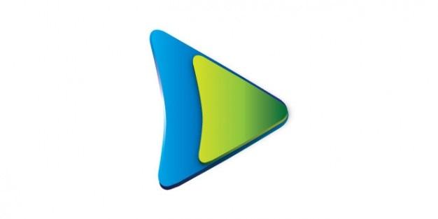 緑、青の色のボタンのロゴを再生