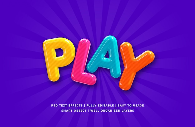 Play cartoon 3d text style effect