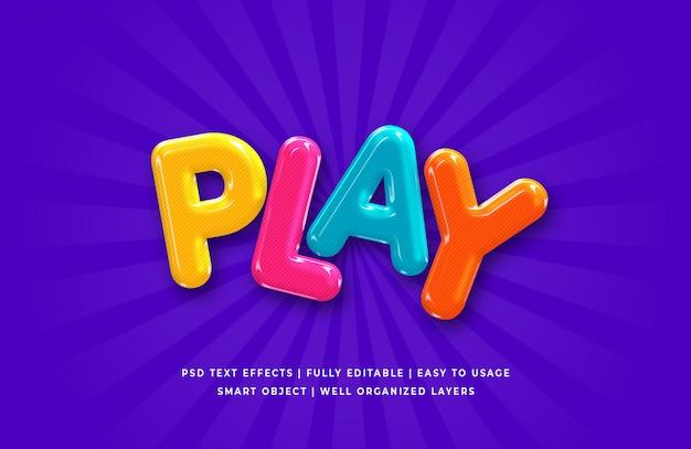 Play cartoon 3d text стиль эффект
