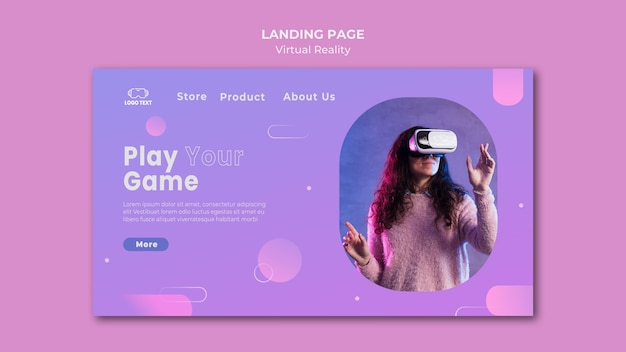 Play the game with virtual reality landing page