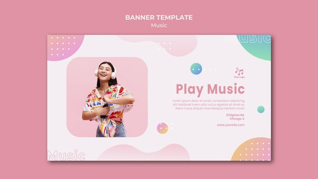 Play music banner web template