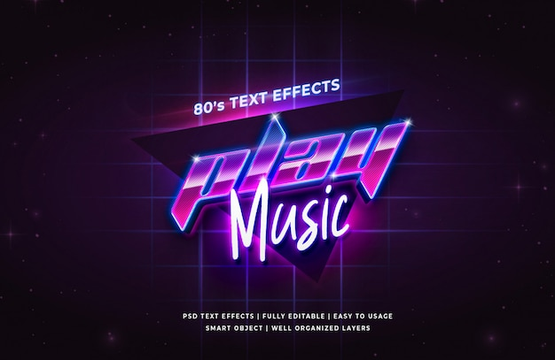 Play music festival 80's retro text effect